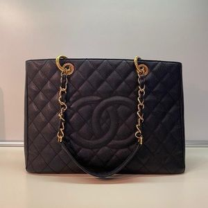 Chanel GST shopper black gold hardware